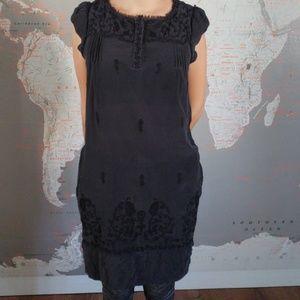 Dresses & Skirts - Zara Woman Black Dress Embroided Trim.